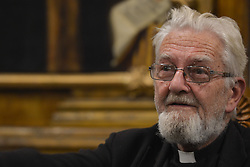 October 6, 2018 - Krakow, Poland - Father Adam Boniecki at 'Where the anti-clericalism of Pope Francis will lead us' debate during the 60th anniversary of the Catholic Intellectual Club in Krakow..On Saturday, October 6, 2018, in Krakow, Poland. (Credit Image: © Artur Widak/NurPhoto/ZUMA Press)