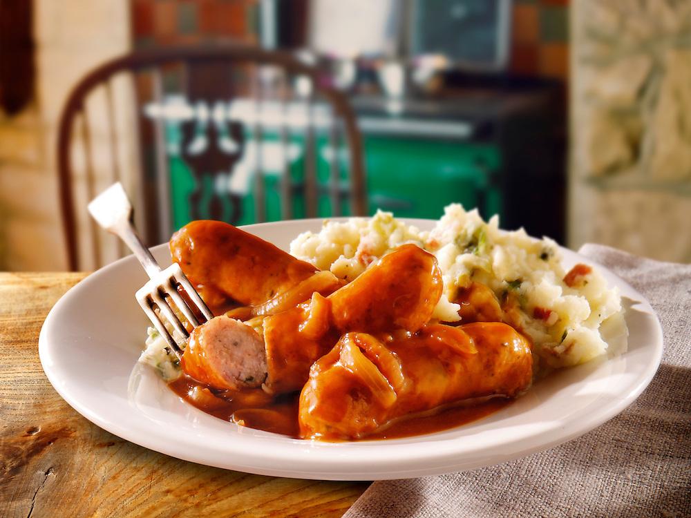British Food - Licolnshire sausages, Onion Gray & Mashed Potatoes