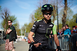 Kristabel Doebel-Hickok (USA) on the start line at La Flèche Wallonne Femmes 2018, a 118.5 km road race starting and finishing in Huy on April 18, 2018. Photo by Sean Robinson/Velofocus.com