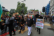 Demonstrators including former interpreters for the British Army gathered near Marble Arch to protest for Afghanistan in central London against the Taliban on Saturday, Aug 21, 2021. (VX Photo/ Vudi Xhymshiti)