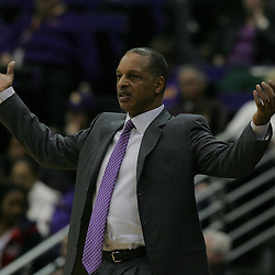 Jan 04, 2010; Baton Rouge, LA, USA;  LSU Tigers head coach Trent Johnson reacts to an officials call during the first half against the McNeese State Cowboys at the Pete Maravich Assembly Center. LSU defeated McNeese State 83-60.  Mandatory Credit: Derick E. Hingle-US PRESSWIRE