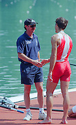 Lucerne, Switzerland. 1995 FISA WC III, Lake Rottsee, Lucerne,<br /> Men's Lightweight singles medals, left Marty AITKIN shakes hands with his silver medalist SUI LM1X Mandatery Credit. Peter SPURRIER/Intersport Images]<br /> <br /> Image scanned from Colour Negative