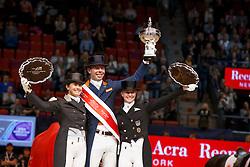 Podium Reem Acra FEI WOrld Cup Dressage<br /> Minderhoud Hans Peter, (NED)<br /> Vilhelmson Sillven Tinne, (SWE)<br /> von Bredow-Werndl Jessica, (GER)<br /> Grand Prix Freestyle<br /> Reem Acra FEI World Cup Dressage - Goteborg 2016<br /> © Hippo Foto - Dirk Caremans<br /> 27/03/16