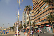 High rise apartment buildings and hotels seafront, Playa Levante beach, Benidorm, Alicante province, Spain