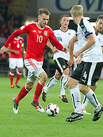 Football - 2017 / 2018 _Wales v Austria_FIFA World Cup Qualifier 2018<br /> <br /> Aaron Ramsey of Wales attacks--- at Cardiff City Stadium.<br /> <br /> COLORSPORT/WINSTON BYNORTH