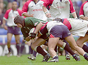 Reading, Berkshire, 10th May 2003,  [Mandatory Credit; Peter Spurrier/Intersport Images], Zurich Premiership Rugby, London Irish's, Naka Drotske, driving through for a try