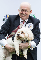 London, October 26 2017. Labour's Wayne David MP (Caerphilly) with Alice, his Cavalier King Charles Spaniel/Bichon Frise cross at the annual Kennel Club and Dogs Trust Westminster Dog Of The Year competition that sees MPs and members of the House of Lords with their dogs as well as rescue dogs from the Dogs Trust. © Paul Davey