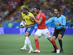 ROSTOV-ON-DON, June 17, 2018  Blerim Dzemaili (C) of Switzerland clashes with Neymar (L) of Brazil during a group E match between Brazil and Switzerland at the 2018 FIFA World Cup in Rostov-on-Don, Russia, June 17, 2018. (Credit Image: © Li Ga/Xinhua via ZUMA Wire)