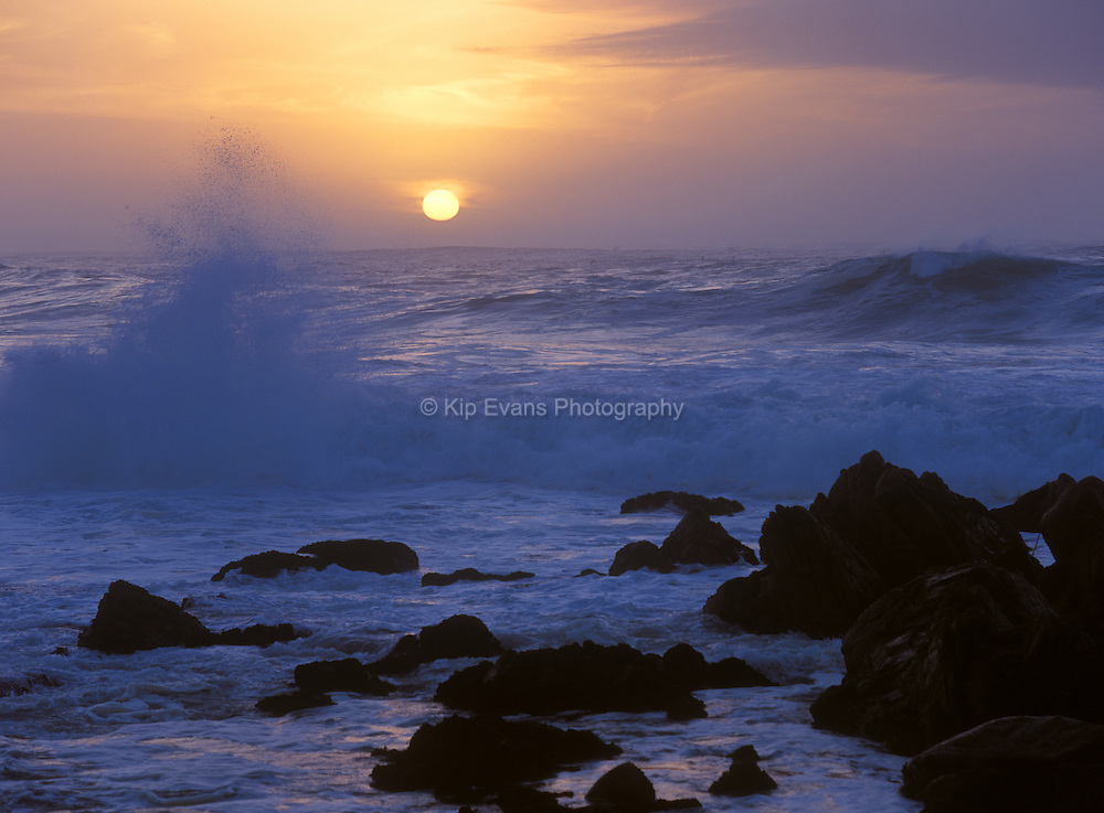Waves crash along the coast of Pacific Grove in California.