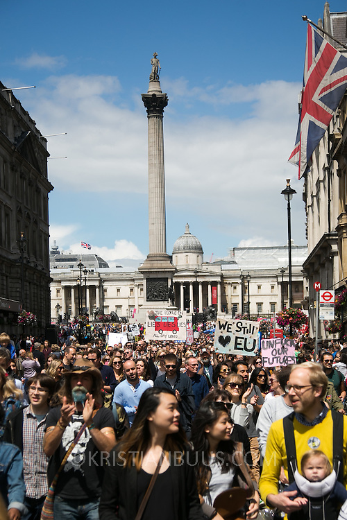 Anti-Brexit march and rally 2nd of July in London, United Kingdom. 48 percent of voters wanted to stay n the EU and now feel disenfranchised and cheated on and many want a second referendum.