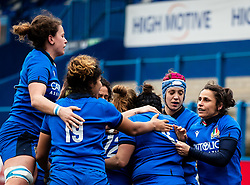 Italy players celebrates scoring their sides third try<br /> <br /> Photographer Simon King/Replay Images<br /> <br /> Six Nations Round 1 - Wales Women v Italy Women - Saturday 2nd February 2020 - Cardiff Arms Park - Cardiff<br /> <br /> World Copyright © Replay Images . All rights reserved. info@replayimages.co.uk - http://replayimages.co.uk
