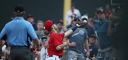 September 3, 2017 - Minneapolis, MN, USA - Minnesota Twins first baseman Joe Mauer (7) catches a foul ball hit by Kansas City Royals third baseman Mike Moustakas (8) in the sixth inning on Sunday, Sept. 3, 2017 at Target Field in Minneapolis, Minn. (Credit Image: © Jerry Holt/TNS via ZUMA Wire)