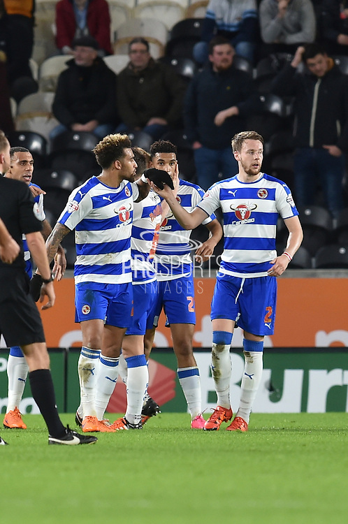 Reading celebrate Nick Blackman Reading FC  scoring to go 1-0 up  during the Sky Bet Championship match between Hull City and Reading at the KC Stadium, Kingston upon Hull, England on 16 December 2015. Photo by Ian Lyall.