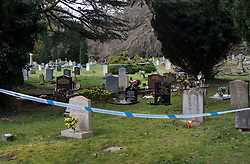 © Licensed to London News Pictures. 08/03/2018. Salisbury, UK. Salisbury. Police cordon tape surrounds the grave of Liudmila Skripal wife of former Russian spy Sergei Skripal in the cemetary in Salisbury. Former Russian spy Sergei Skripal, his daughter Yulia and a policeman are still critically ill after being poisoned with nerve agent. The couple where found unconscious on bench in Salisbury shopping centre. Authorities continue to investigate. Photo credit: Peter Macdiarmid/LNP