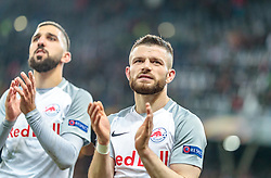 12.04.2018, Red Bull Arena, Salzburg, AUT, UEFA EL, FC Salzburg vs SS Lazio Roma, Viertelfinale, Rueckspiel, im Bild Munas Dabbur (FC Salzburg), Valon Berisha (FC Salzburg) // during the UEFA Europa League Quaterfinal, 2nd Leg Match between FC Salzburg and SS Lazio Roma at the Red Bull Arena in Salzburg, Austria on 2018/04/12. EXPA Pictures © 2018, PhotoCredit: EXPA/ JFK
