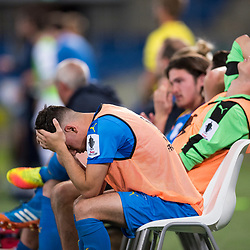 BRISBANE, AUSTRALIA - SEPTEMBER 20: Gold Coast City players react during the Westfield FFA Cup Quarter Final match between Gold Coast City and South Melbourne on September 20, 2017 in Brisbane, Australia. (Photo by Gold Coast City FC / Patrick Kearney)