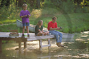 Outdoor recreation, Fishing Father and Children Fish at Farm Pond, Father Fishing with Children,