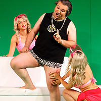 Picture shows : Tiziano Bracci as Mustafa with bunny girls..Picture  ©  Drew Farrell Tel : 07721 -735041..A new Scottish Opera production of  Rossini's 'The Italian Girl in Algiers' opens at The Theatre Royal Glasgow on Wednesday 21st October 2009..(Soap) opera as you've never seen it before.Tonight on Algiers.....Colin McColl's cheeky take on Rossini's comic opera is a riot of bunny girls, beach balls, and small screen heroes with big screen egos. Set in a TV studio during the filming of popular Latino soap, Algiers, the show pits Rossini's typically playful and lyrical music against the shoreline shenanigans of cast and crew. You'd think the scandal would be confined to the outrageous storylines, but there's as much action off set as there is on.... .Italian bass Tiziano Bracci makes his UK debut in the role of Mustafa. Scottish mezzo-soprano Karen Cargill, who the Guardian called a 'bright star' for her performance as Rosina in Scottish Opera's 2007 production of The Barber of Seville, sings Isabella. .Cast .Mustafa...Tiziano Bracci.Isabella..Karen Cargill.Lindoro...Thomas Walker.Elvira...Mary O'Sullivan.Zulma...Julia Riley.Haly...Paul Carey Jones.Taddeo...Adrian Powter. .Conductors.Wyn Davies.Derek Clarke (Nov 14). .Director by Colin McColl.Set and Lighting Designer by Tony Rabbit.Costume Designer by Nic Smillie..New co-production with New Zealand Opera.Production supported by.The Scottish Opera Syndicate.Sung in Italian with English supertitles..Performances.Theatre Royal, Glasgow - October 21, 25,29,31..Eden Court, Inverness - November 7. .His Majesty's Theatre, Aberdeen  - November 14..Festival Theatre,Edinburgh - November 21, 25, 27 ...Note to Editors:  This image is free to be used editorially in the promotion of Scottish Opera. Without prejudice ALL other licences without prior consent will be deemed a breach of copyright under the 1988. Copyright Design and Patents Act  and will be subject to payment or legal action, where appropriate..Further further inf