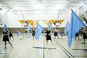 The Shadow Armada Winterguard performs at La Porte High School for the Winter Guard International (WGI) competition in La Porte, Indiana on April 6, 2013.