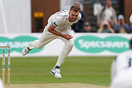 Oliver Hannon-Dalby of Warwickshire bowling during the Specsavers County Champ Div 1 match between Yorkshire County Cricket Club and Warwickshire County Cricket Club at York Cricket Club, York, United Kingdom on 17 June 2019.