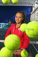 Romanian tennis player, Jaqueline Adina Cristian, poses at tennis training ground Thursday, January 31, 2012.