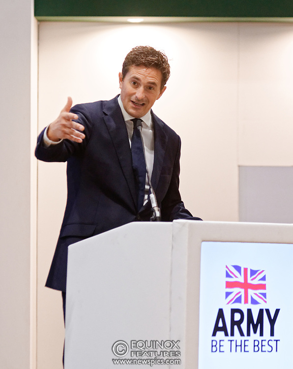London, United Kingdom - 12 September 2019<br /> Johnny Mercer MP, Parliamentary Under-Secretary of State for Defence People and Veterans for the UK Government gives a keynote address speech and answers questions from the audience at DSEI 2019 security, defence and arms fair at ExCeL London exhibition centre.<br /> (photo by: EQUINOXFEATURES.COM)<br /> Picture Data:<br /> Photographer: Equinox Features<br /> Copyright: ©2019 Equinox Licensing Ltd. +443700 780000<br /> Contact: Equinox Features<br /> Date Taken: 20190912<br /> Time Taken: 10194523<br /> www.newspics.com