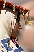 "A Virgin of the Sun in profile. Inti Raymi ""Festival of the Sun"", Plaza de Armas, Cusco, Peru."