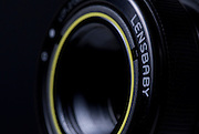 A close up of the Lensbaby 50mm Composer Pro (Sony / Minolta mount) on a Minolta Alpha Sweet II.