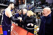 Sacchetti Brian Bragaglio Graziella<br /> Grissin Bon Reggio Emilia - Germani Basket Brescia<br /> Lega Basket Serie A 2019/2020<br /> Reggio Emilia, 11/01/2020<br /> Foto A.Giberti / Ciamillo - Castoria