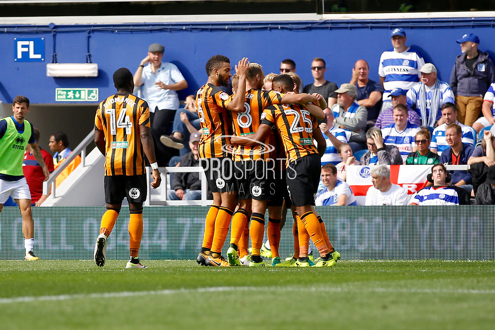 Hull City players celebrate a goal from Hull City forward Jarrod Bowen (20) (score 0-1) during the EFL Sky Bet Championship match between Queens Park Rangers and Hull City at the Loftus Road Stadium, London, England on 19 August 2017. Photo by Andy Walter.