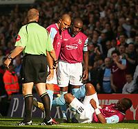 Photo: Frances Leader.<br />Fulham v West Ham. The Barlcays Premiership.<br />17/09/2005.<br />West Ham's Marlon Harewood lies injured after scoring the first goal against fulham