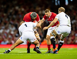 Jake Ball of Wales is tackled by Ellis Genge of England<br /> <br /> Photographer Simon King/Replay Images<br /> <br /> Friendly - Wales v England - Saturday 17th August 2019 - Principality Stadium - Cardiff<br /> <br /> World Copyright © Replay Images . All rights reserved. info@replayimages.co.uk - http://replayimages.co.uk