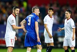 Pablo Sarabia of Sevilla points at Jamie Vardy of Leicester City - Rogan Thomson/JMP - 22/02/2017 - FOOTBALL - Estadio Ramon Sanchez Pizjuan - Seville, Spain - Sevilla FC v Leicester City - UEFA Champions League Round of 16, 1st Leg.