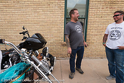 Bobby Seeger having a laugh on Aidan's Ride to raise money for the Aiden Jack Seeger nonprofit foundation to help raise awareness and find a cure for ALD (Adrenoleukodystrophy) during the annual Sturgis Black Hills Motorcycle Rally. Rapid City, SD, USA. Tuesday August 8, 2017. Photography ©2017 Michael Lichter.