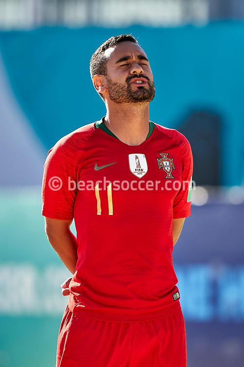 NAZARE, PORTUGAL - SEPTEMBER 2: Leo Martins of Portugal during day 1 of the Euro Beach Soccer League Superfinal at Estadio do Viveiro on September 2, 2020 in Nazare, Portugal. (Photo by Jose Manuel Alvarez/BSWW)