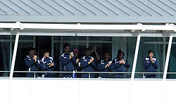 The Middlesex team applause Adam Voges after he was dismissed for 132. - Photo mandatory by-line: Harry Trump/JMP - Mobile: 07966 386802 - 29/04/15 - SPORT - CRICKET - LVCC Division One - County Championship - Somerset v Middlesex - Day 4 - The County Ground, Taunton, England.