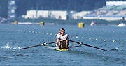Banyoles, SPAIN, Men's coxed pair, GER M2+. Michael PETER, Thomas WODDOW and Peter THIEDE (c) competing in the 1992 Olympic Regatta, Lake Banyoles, Barcelona, SPAIN.   [Mandatory Credit: Peter Spurrier: Intersport Images]