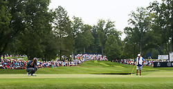 August 9, 2018 - St. Louis, Missouri, United States - Tiger Woods lines up a putt on the 4th green during the first round of the 100th PGA Championship at Bellerive Country Club. (Credit Image: © Debby Wong via ZUMA Wire)