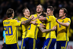 November 20, 2018 - Stockholm, SVERIGE - 181120  Players of Sweden celebrates the 1-0 by Victor Nilsson Lindelöf during the Nations League football match between Sweden and Russia on November 20, 2018 in Stockholm. (Credit Image: © Andreas L Eriksson/Bildbyran via ZUMA Press)