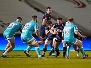 Sale Sharks Valeri Morozov drives at Warriors Cornell du Preez during the Gallagher Premiership match Sale Sharks -V- Worcester Warriors at The AJ Bell Stadium, Greater Manchester,England United Kingdom, Friday, January 08, 2021. (Steve Flynn/Image of Sport)