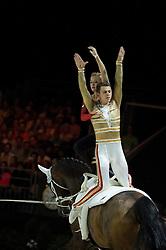 Gera Marie Grun, Justin Van Gerven, (GER), Danny Boy 25, Patric Looser - Pas de Deux Vaulting - Alltech FEI World Equestrian Games™ 2014 - Normandy, France.<br /> © Hippo Foto Team - Jon Stroud<br /> 04/09/2014