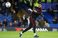 Manchester United Goalkeeper Sergio Romero in warm up during the The FA Cup 5th round match between Chelsea and Manchester United at Stamford Bridge, London, England on 18 February 2019.