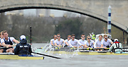 Putney, London, Cambridge [right] pulling away from Oxford on the Chiswick Bend, approach the finishing line before Chiswick Bridge, during the 156th, University Boat Race156th Race, on the Championship Course Putney to Hammersmith  Saturday  03/04/2010 [Mandatory Credit Peter Spurrier/ Intersport Images]  <br /> <br /> CUBC Crew, Bow - Rob WEITEMEYER, Geoff ROTH, George NASH, Peter McCELLAND, Deaglan McEACHERN, Henry PELLY, Derek RASMUSSEN, Stroke - Fred GILL and Cox - Ted RANDOLPH<br /> <br /> OUBC crew, Bow - Ben MYERS, Martin WALSH, Tyler WINKLEVOSS, Cameron WINKLEVOSS, Sjoerd HAMBURGER, Matt EVANS, Simon GAWLIK, Stroke - Charlie BURKITT and Cox - Adam BARHAMAND
