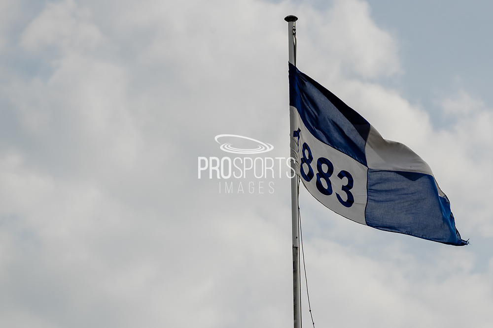 Bristol Rovers 1883 flag flies during the EFL Sky Bet League 1 match between Bristol Rovers and Ipswich Town at the Memorial Stadium, Bristol, England on 19 September 2020.