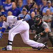 Kansas City Royals catcher Salvador Perez connected for the game winning hit in the 12th inning during the American League Wild Card playoff baseball game on September 1, 2014 at Kauffman Stadium in Kansas City, MO.