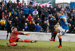 Rangers' Jamie Murphy scores but it is later ruled off for offside during the William Hill Scottish Cup, fifth round match at Somerset Park, Ayr.