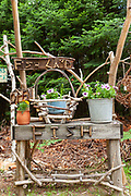 A rustic display outside a country boutique in the Northwoods village of Boulder Junction, Wisconsin.