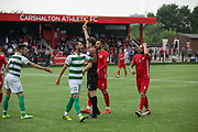 Yellow card for Riccardo Ravasi for Padania. Northern Cyprus 3 v Padania 2 during the Conifa Paddy Power World Football Cup semi finals on the 7th June 2018 at Carshalton Athletic Football Club in the United Kingdom. The CONIFA World Football Cup is an international football tournament organised by CONIFA, an umbrella association for states, minorities, stateless peoples and regions unaffiliated with FIFA.