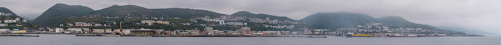 Russia, Sakhalin. Kholmsk is an important sea port for the island of Sakhalin. The harbour, panorama view.