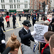 The funeral of former Prime Minister Margaret Thatcher who died Monday April 8. Hgh ranking police found that the barriers where the worng way around and interveened. The funeral of Margaret Thatcher and the huge costs of it has sparked controversy and a number of protesters turned up to show their dissent and to turn their back on the procession.